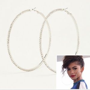 """🖤 Torrid oversized silver pave 4"""" hoop earrings"""